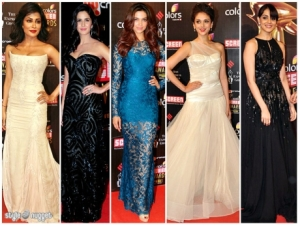 Bollywood Female Actors at the Colors Screen Awards, January 2013.